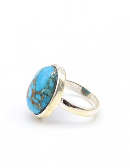 Bague cabochon en argent et turquoise de mohave ovale - Mosaik bijoux indiens