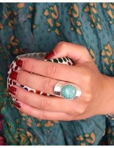 Bague argent large et grosse turquoise - Mosaik bijoux indiens 2