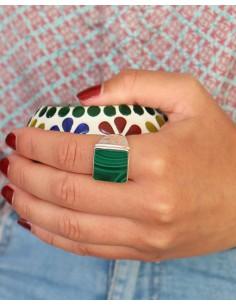Chevalière en argent et malachite carrée pour homme - Mosaik bijoux indiens 2