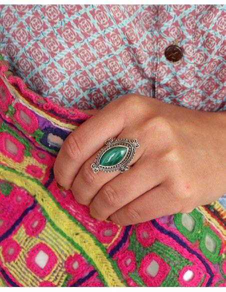 Bague ethnique allongée en argent et malachite - Mosaik bijoux indiens