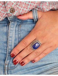 Bague argent ethnique et lapis lazuli - Mosaik bijoux indiens 2