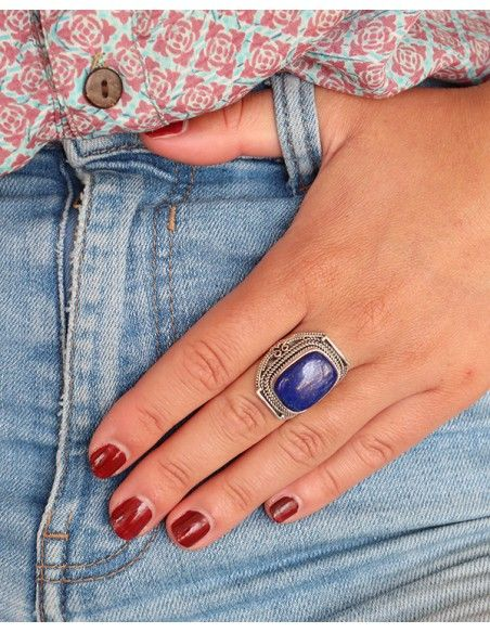 Grosse bague travaillée en argent et lapis lazuli rectangle - Mosaik bijoux indiens
