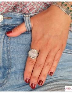 Bague bohème en argent et pierre de lune cabochon - Mosaik bijoux indiens 2