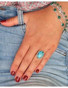 Bague en argent et turquoise de mohave - Mosaik bijoux indiens 2