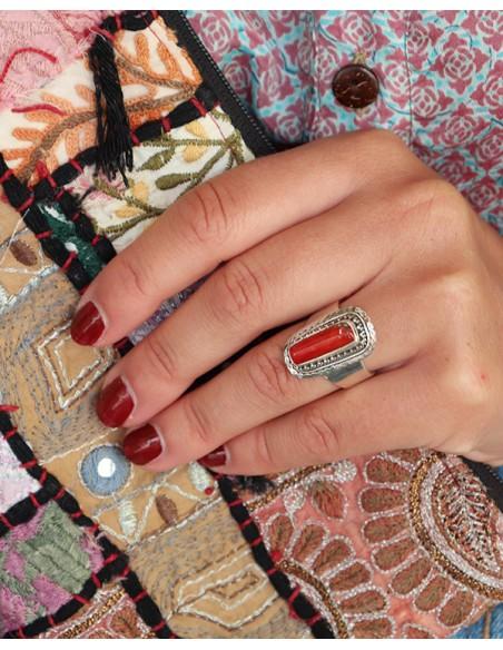Bague argent ethnique et corail - Mosaik bijoux indiens