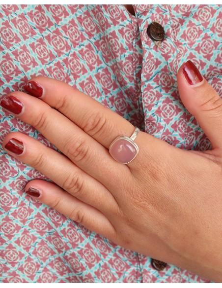 Bague carrée en argent et quartz rose - Mosaik bijoux indiens