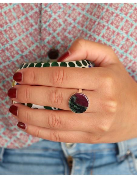 Bague argent ronde et rubis zoïsite - Mosaik bijoux indiens