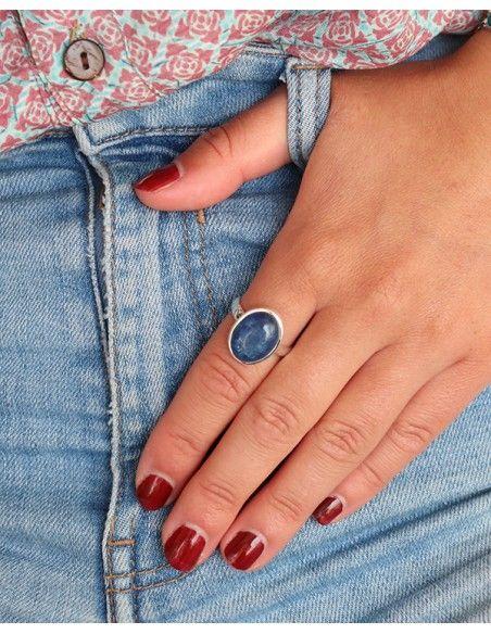 Bague argent et cyanite bleue ovale - Mosaik bijoux indiens
