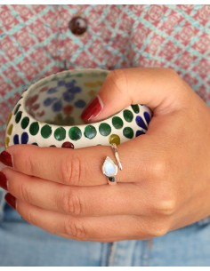 Bague argent et goutte en pierre de lune réglable - Mosaik bijoux indiens 2