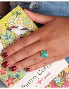 Bague fine en argent et jade facettée - Mosaik bijoux indiens 2