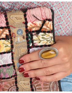 Grosse bague ethnique en argent et oeil de tigre - Mosaik bijoux indiens 2