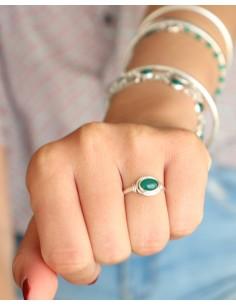 Bague fine en argent et agate verte - Mosaik bijoux indiens 2