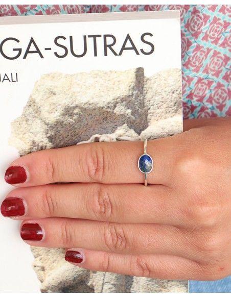 Bague argent et petit lapis lazuli ovale - Mosaik bijoux indiens