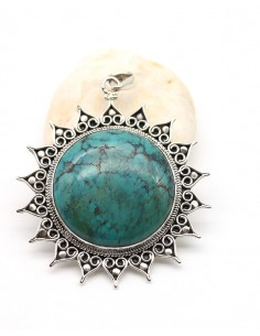 Pendentif ethnique soleil en argent et grosse turquoise - Mosaik bijoux indiens