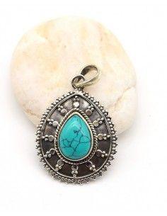 Pendentif bohème en argent et goutte turquoise - Mosaik bijoux indiens