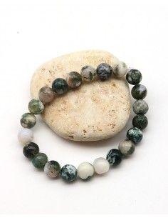 Bracelet agate mousse élastique - Mosaik bijoux indiens