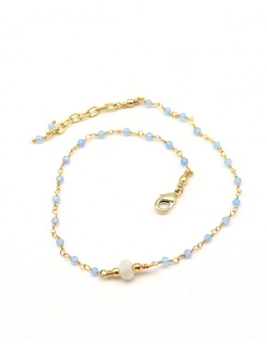Bracelet de cheville laiton, pierre de lune et calcédoine -Mosaik bijoux indiens