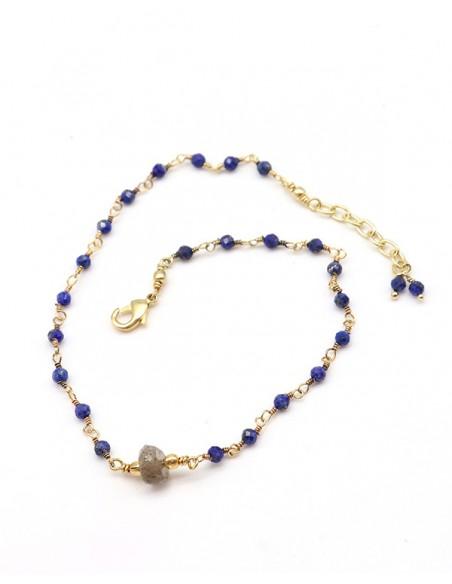 Chaîne de cheville dorée lapis lazuli et labradorite - Mosaik bijoux indiens