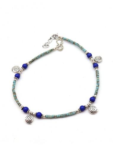 Bracelet de cheville turquoise fine - Mosaik bijoux indiens