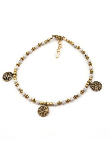 Chaine de cheville blanche et dorée - Mosaik bijoux indiens