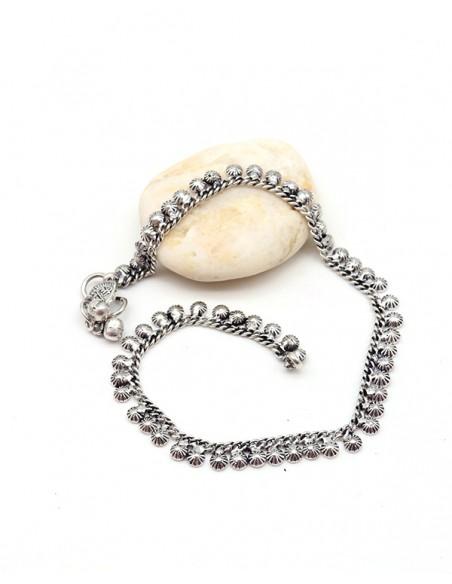 Bracelet de pied plaqué argent mat - Mosaik bijoux indiens