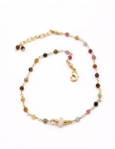 Bracelet de cheville tourmaline et pierre de lune dorée - Mosaik bijoux indiens