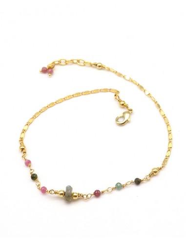 Bracelet de pied laiton et pierres naturelles - Mosaik bijoux indiens