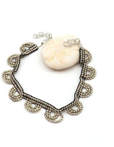 Chevillère argentée en perles - Mosaik bijoux indiens