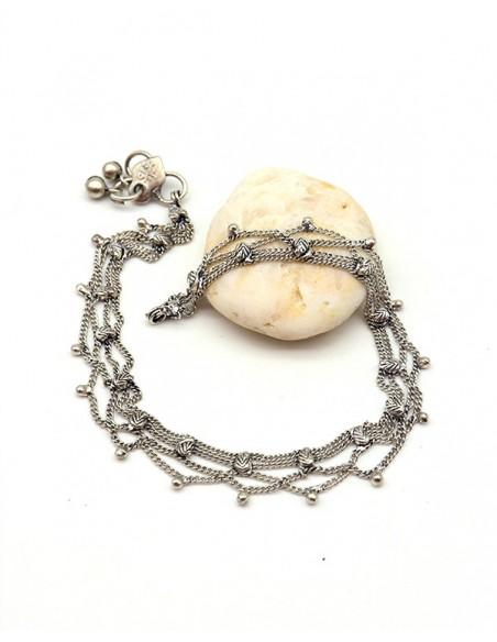 Bracelet de cheville argenté pampilles - Mosaik bijoux indiens