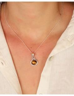 Petit pendentif argent et oeil de tigre - Mosaik bijoux indiens 2