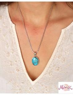 Pendentif en turquoise de mohave et argent - Mosaik bijoux indiens 2