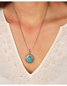 Pendentif bohème en argent et goutte turquoise - Mosaik bijoux indiens 2