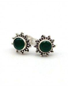 Puce d'oreilles argent et agate verte - Mosaik bijoux indiens