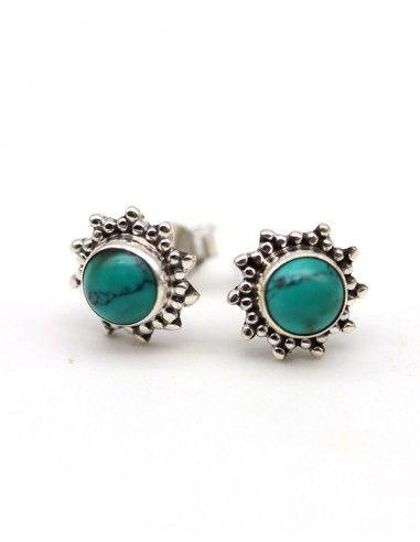 Puces d'oreilles argent et turquoise ronde - Mosaik bijoux indiens