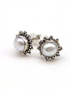 Boucles d'oreilles argent et perles rondes - Mosaik bijoux indiens