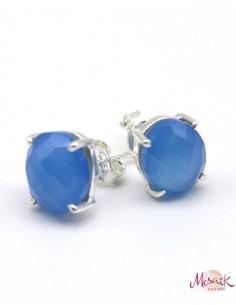 Boucles d'oreilles argent et agate bleue facettée - Mosaik bijoux indiens