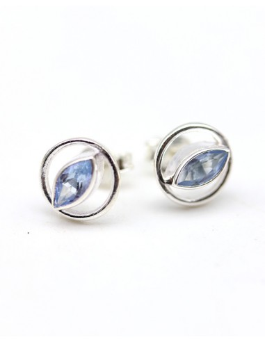 Puces d'oreilles argent et topaze bleue - Mosaik bijoux indiens