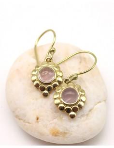 Boucles d'oreilles dorées et quartz rose - Mosaik bijoux indiens