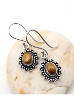 Boucles d'oreilles plaqué argent et oeil de tigre - Mosaik bijoux indiens