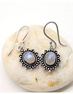 Boucles d'oreilles plaqué argent et pierre de lune - Mosaik bijoux indiens