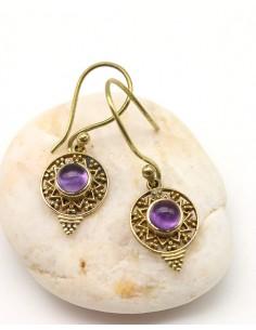Boucles d'oreilles laiton et améthyste ronde - Mosaik bijoux indiens
