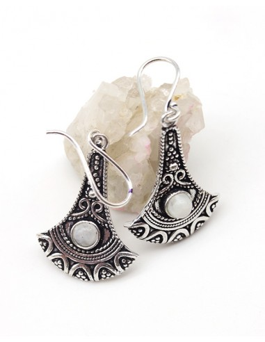 Boucles d'oreilles argentées et pierre de lune - Mosaik bijoux indiens