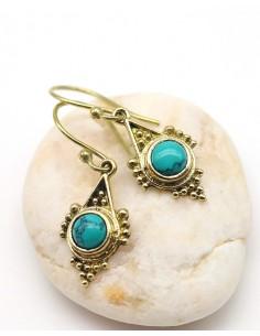Boucles d'oreilles travaillées dorées et turquoise - Mosaik bijoux indiens