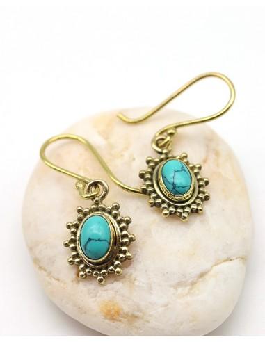 Boucles d'oreilles en laiton et turquoise - Mosaik bijoux indiens