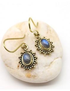 Boucles d'oreilles dorées et labradorite - Mosaik bijoux indiens