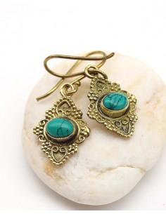 Boucles d'oreilles laiton ethniques et turquoise - Mosaik bijoux indiens