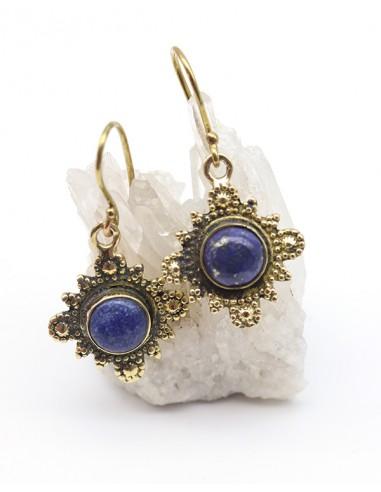 Boucles d'oreilles ethniques dorées et lapis lazuli - Mosaik bijoux indiens