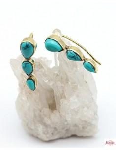 Boucles d'oreilles en laiton et 3 turquoises - Mosaik bijoux indiens