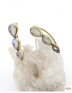 Boucles d'oreilles dorées et 3 pierres de lune - Mosaik bijoux indiens