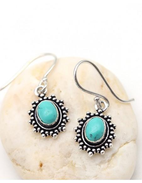 Boucles d'oreilles plaqué argent et turquoise - Mosaik bijoux indiens